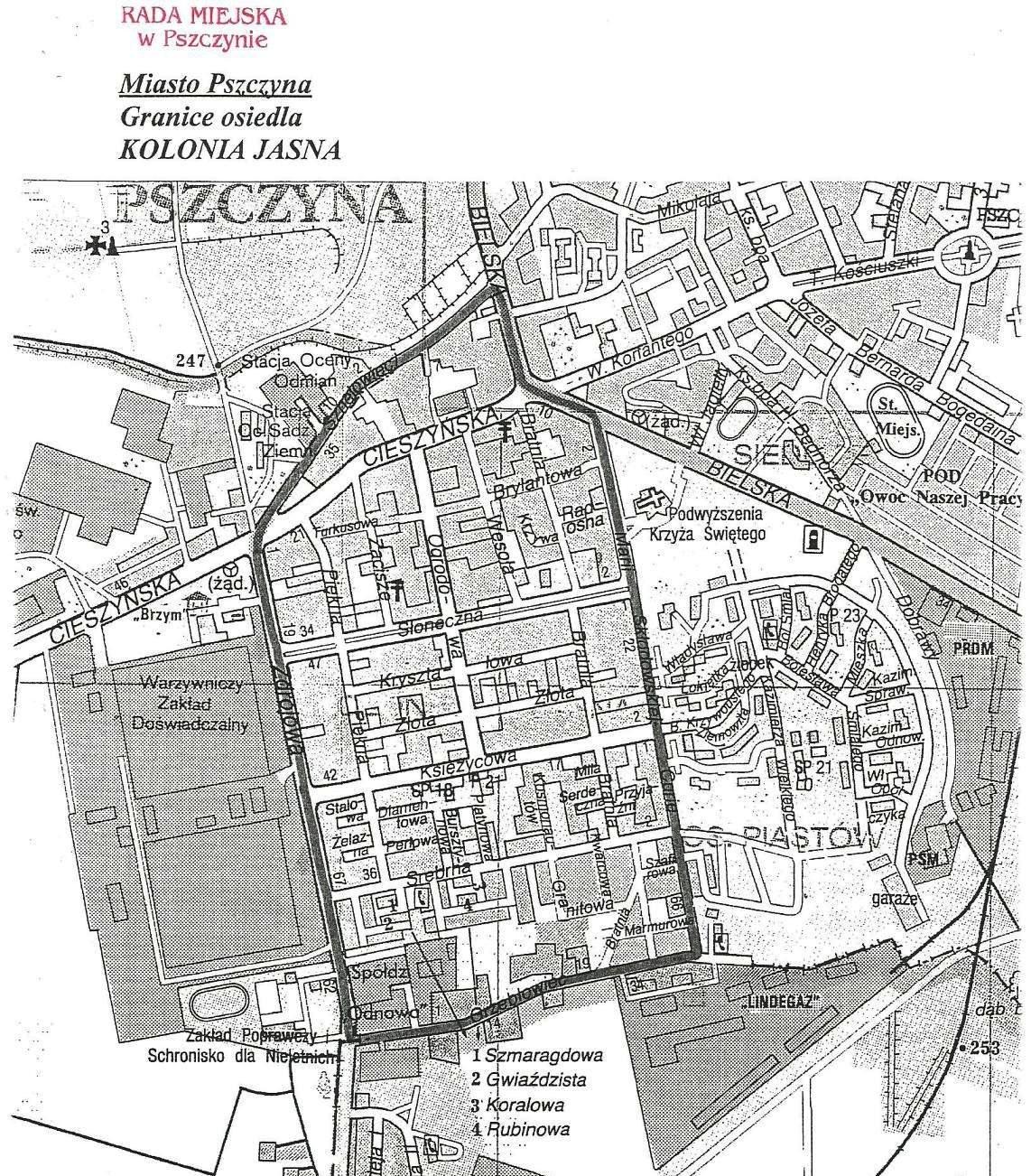 Mapa Osiedla Kolonia Jasna Osiedle Miasta Pszczyna